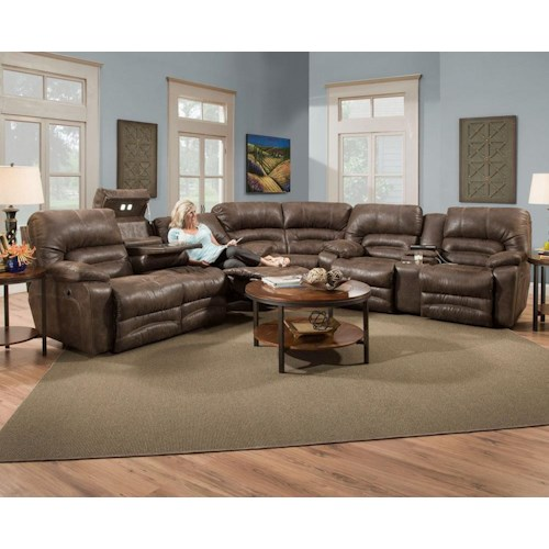 Franklin Legacy Reclining Sectional Sofa With Drop Table Lights And Console