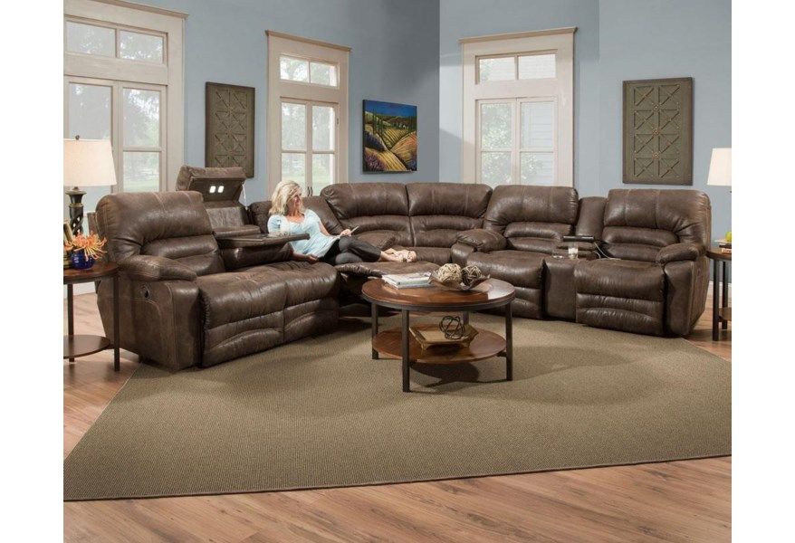 Franklin Legacy Reclining Sectional Sofa with Drop Table ...
