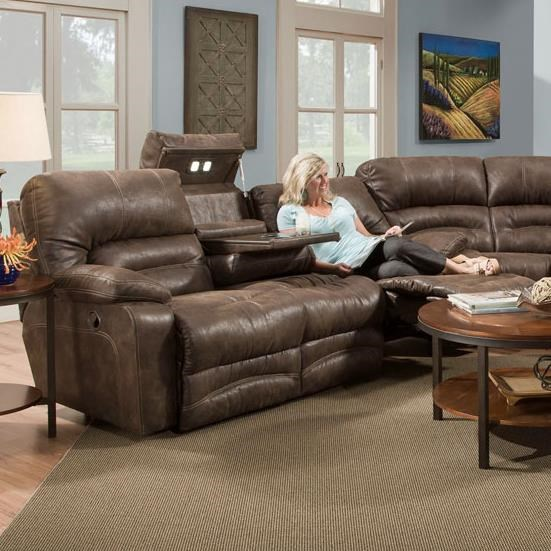 Franklin LegacyReclining Sofa With Table And Lights ...