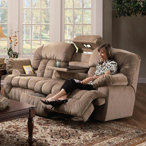 Franklin 524 Casual Reclining Sofa with Built-In Storage and Lighting