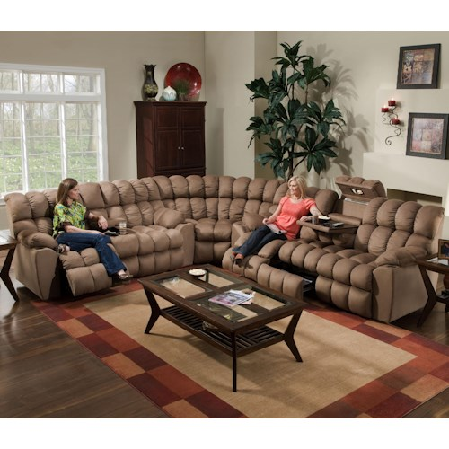 Sectional With Reclining Sofa Reclining Loveseat Wedge And Built - Sectional with built in table