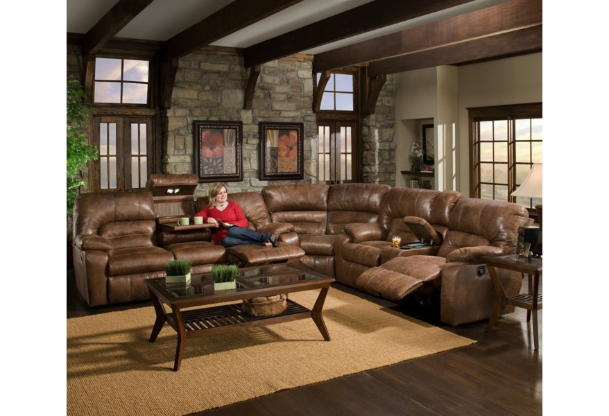 596 3 Piece Motion Sectional with Storage & Lights by Franklin at Wilcox  Furniture