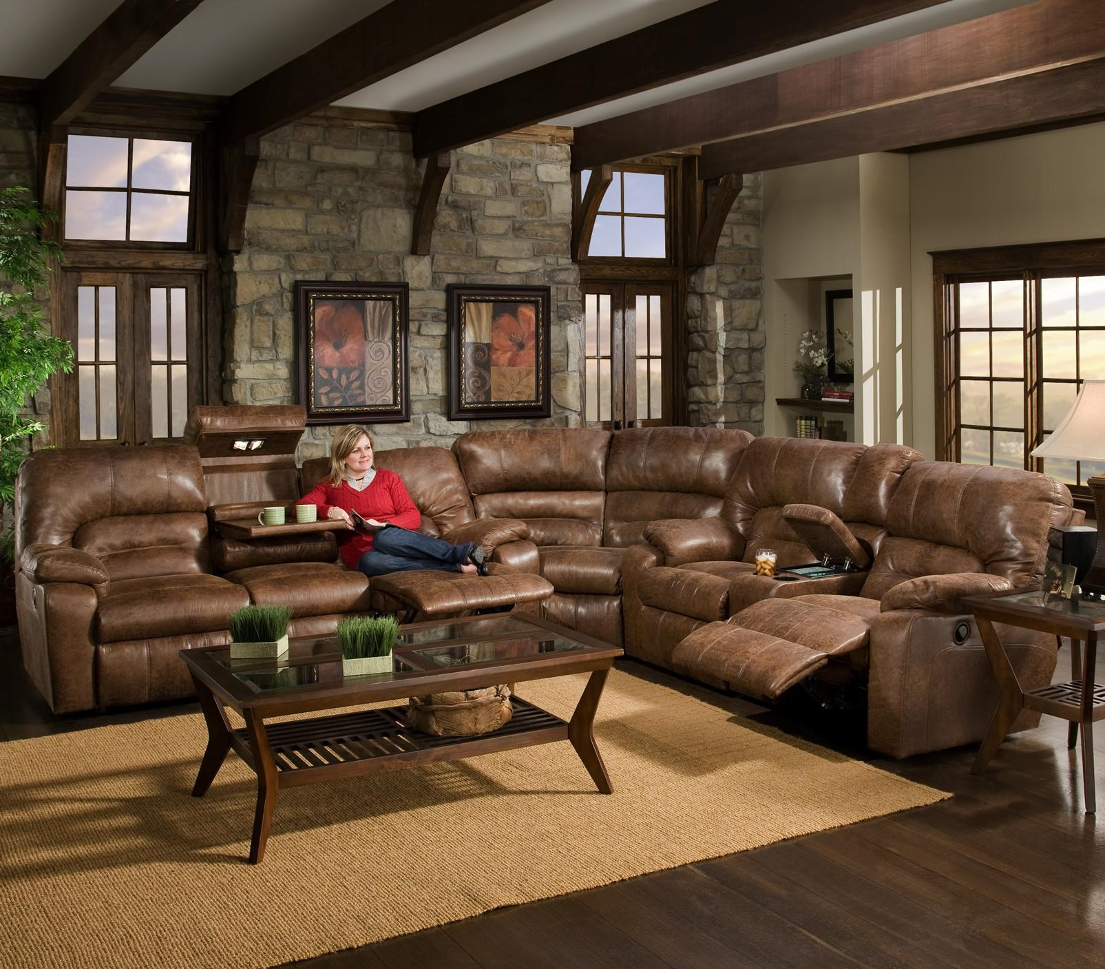 Franklin 596 3 Piece Motion Sectional With Storage U0026 Lights   Conlinu0027s  Furniture   Reclining Sectional Sofa
