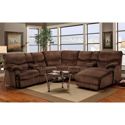 Franklin 597 Casual Reclining Sectional Sofa with Right-Side Chaise