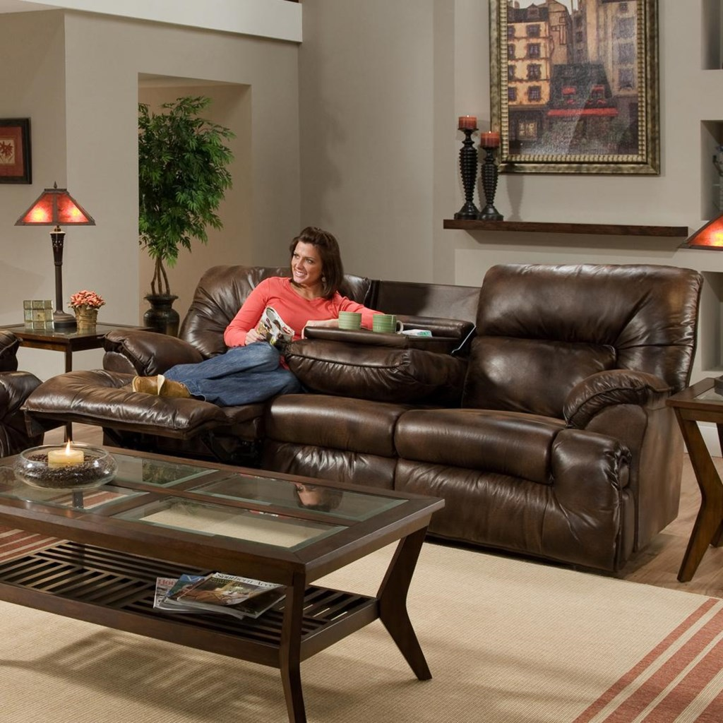Casual Reclining Sofa With Fold Down Tray Table 6460 By Franklin