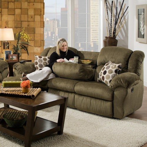 Franklin 691 92 5 Inch Reclining Sofa With Built In Fold Down Tray Table