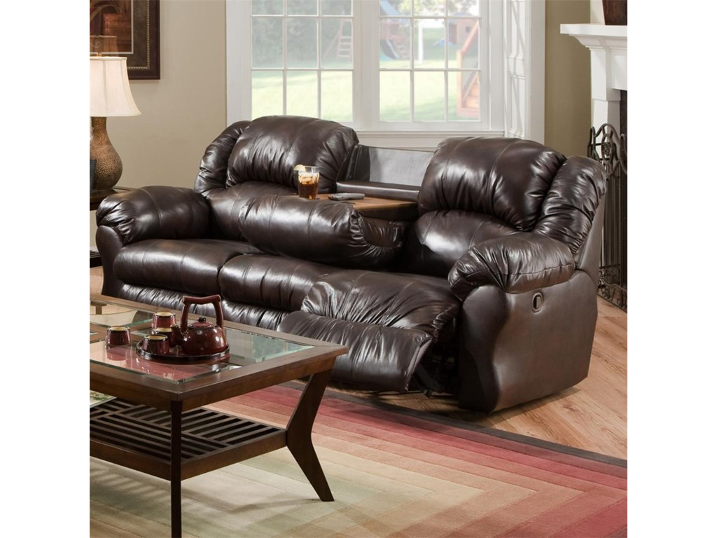 92 5 Inch Reclining Sofa With Built In Fold Down Tray Table 691 By