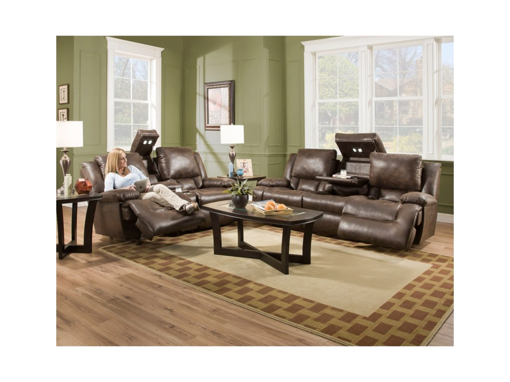 Franklin ExcaliburPower Reclining Loveseat with Tech Gadgets
