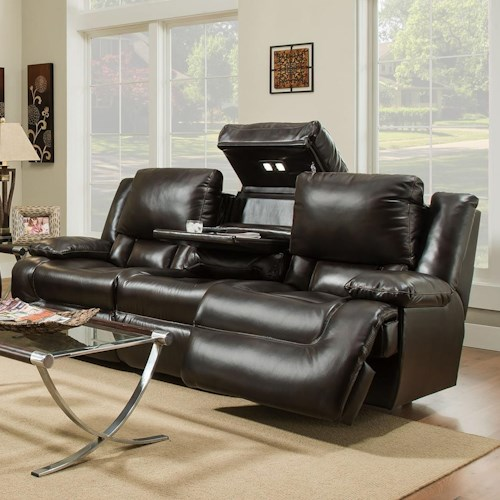 Franklin Excalibur Reclining Sofa With Adjule Backrest Lights Storage And Drop Down Table