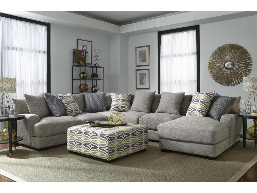 Franklin barton sectional sofa with 5 seats and chaise miskelly ottoman sold separately parisarafo Gallery