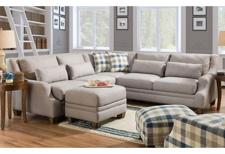 Franklin 850 Contemporary L Shaped Sectional With Low Track