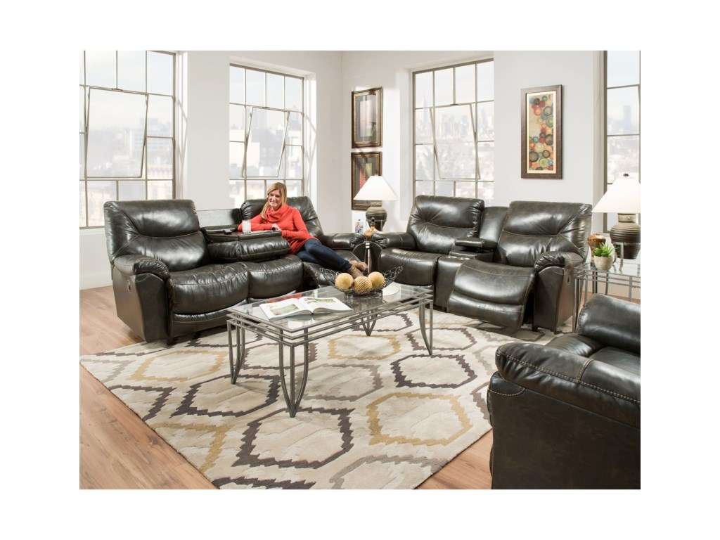 Franklin calloway reclining sofa with drop down table furniture calloway 45744 reclining sofa with drop down table by franklin geotapseo Choice Image