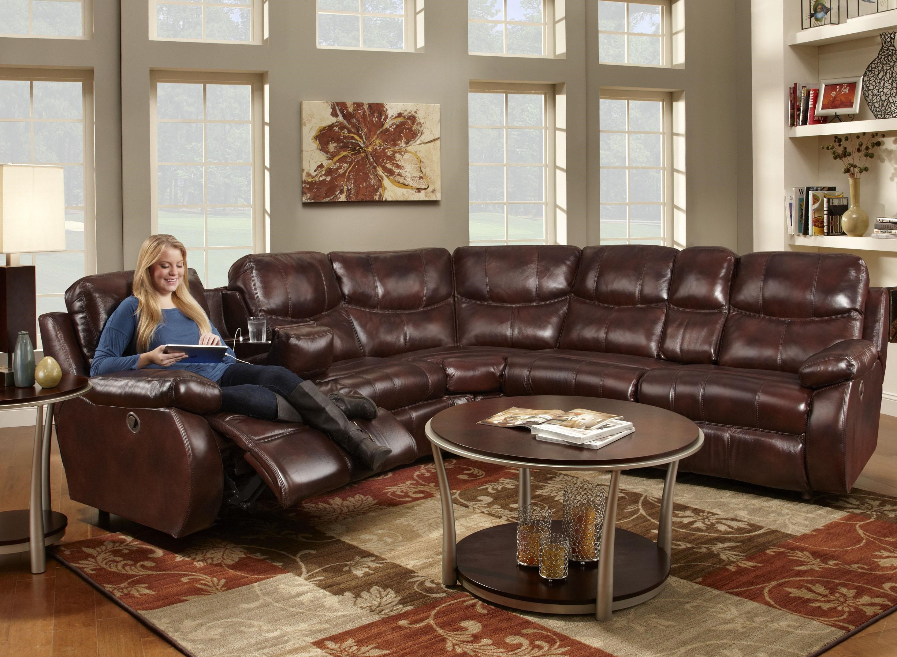 Franklin Eclipse Collection 499 Reclining Sectional Sofa With 2 Recline  Seats And Cup Holders