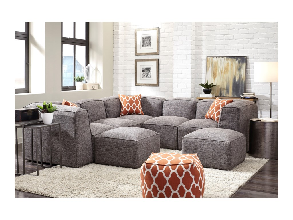 Franklin Freestyle Sectional Sofa with Four Seats | Olinde\'s ...