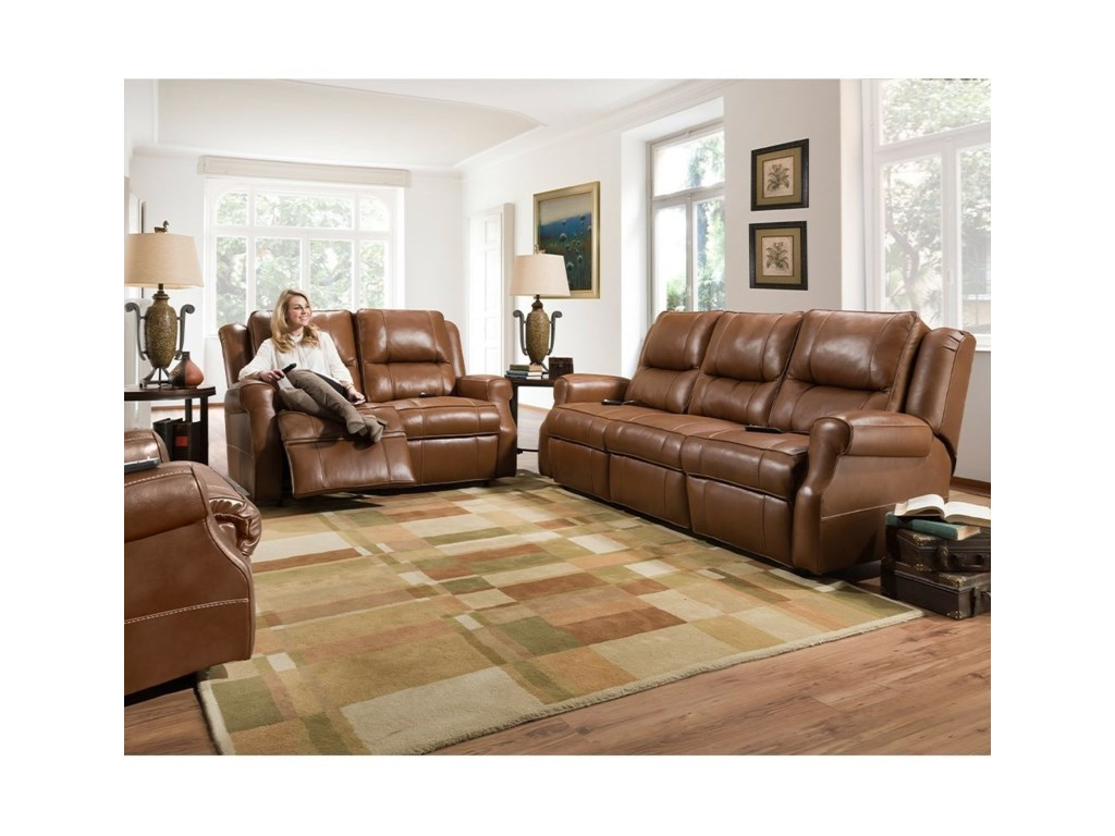 Franklin HawkinsLeather Match Power Reclining Sofa
