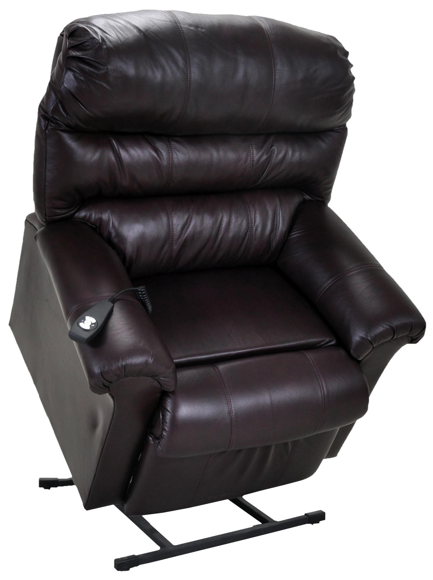 Franklin Lift And Power Recliners Chocolate Leather Lift Chair   Great  American Home Store   Lift Recliner