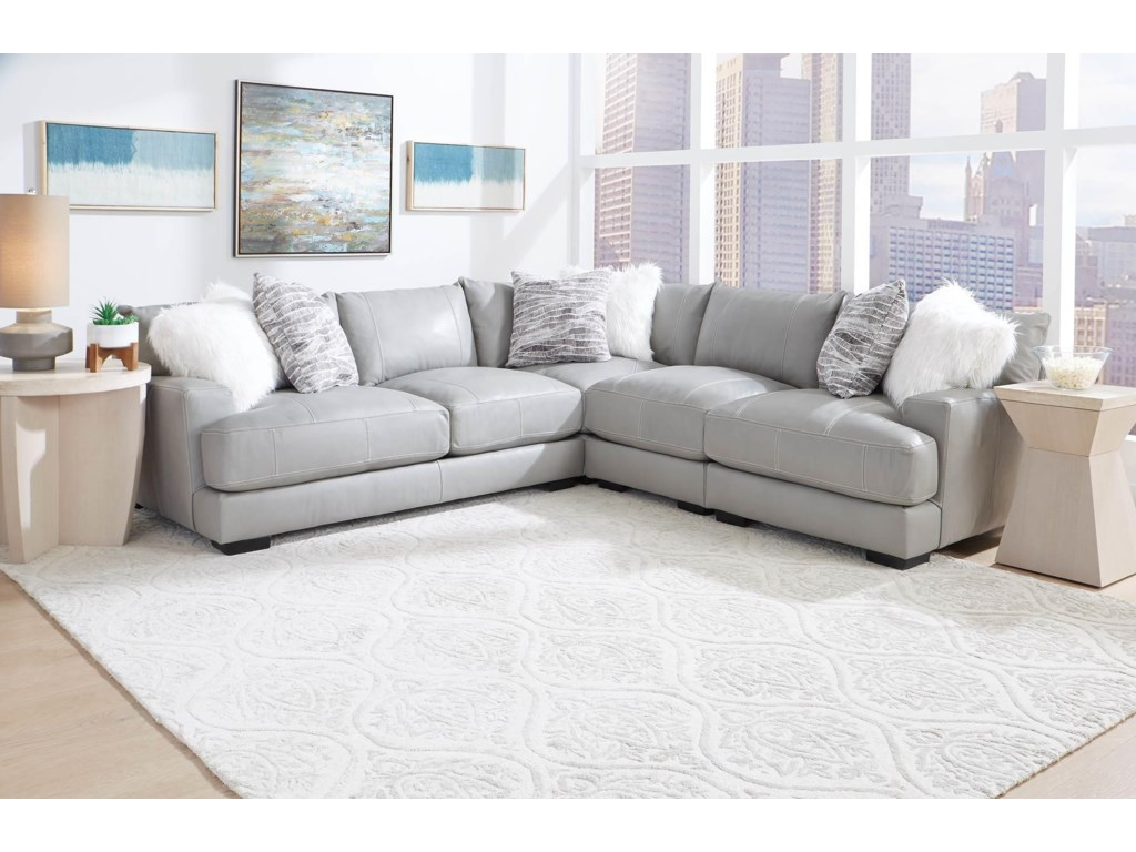 Franklin AntoniaGrey Leather 3 Piece Sectional