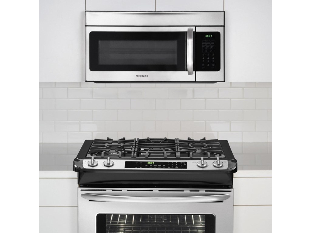 Microwave Shown Mounted on Cabinet Above Frigidaire Gas Range