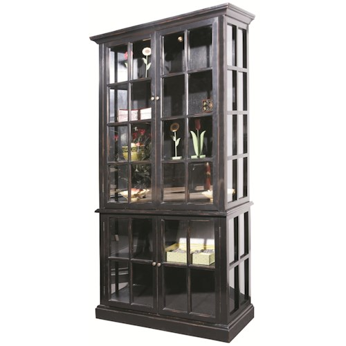 Furniture Classics 710 Distressed Black Curio Cabinet with 4 Doors and 4 Shelves