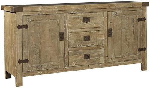 Furniture Classics Accents Rustic Reclaimed Fir Graystone Top Buffet with Wrought Iron Hinges