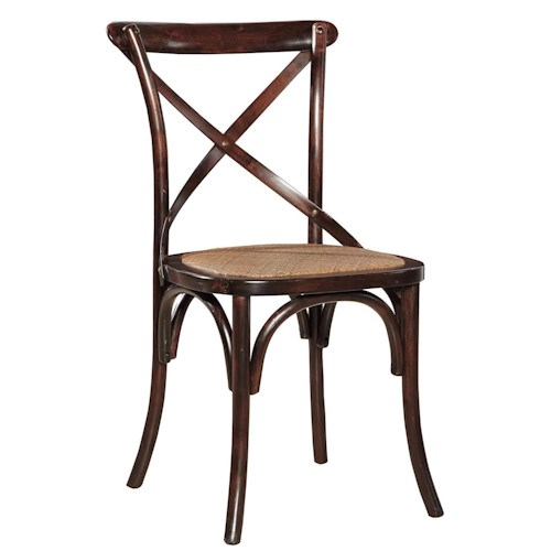 Furniture Classics Accents Brown Dining Side Chair with X-Back and Rattan Seat