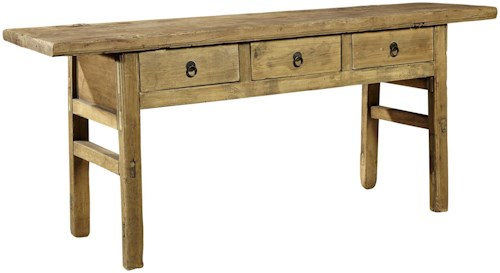 Furniture Classics Accents Reclaimed Wood Butcher Table with 3 Drawers