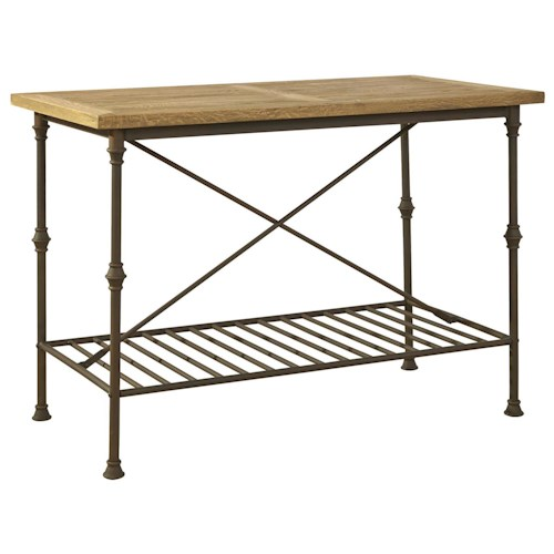 Furniture Classics Accents Industrial Style Mission Bar Table with Solid Oak Top