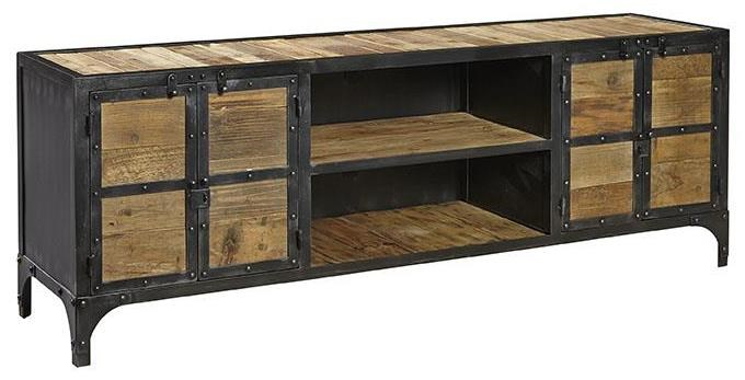 furniture classics accents industrial style bleecker media credenza with steel u0026 reclaimed wood