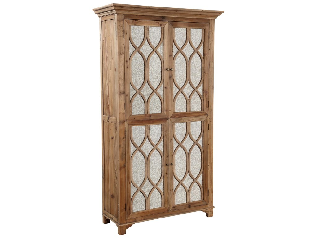 Accents Antique Mirror Cabinet with Reclaimed Elm by Furniture Classics - Furniture Classics Accents 71318 Antique Mirror Cabinet With