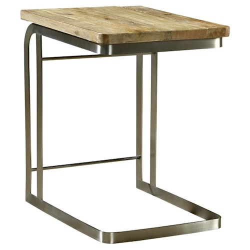 Furniture Classics Accents Myrtle Side Table with Cantilever Metal Base & Reclaimed Wood