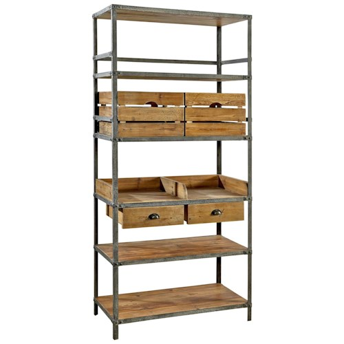 Furniture Classics Accents Industrial Style Metal Breeland Bookcase with Reclaimed Wood