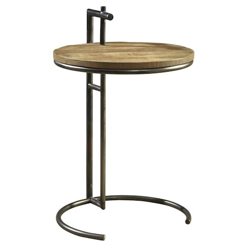 Furniture Classics Accents Modern Round Side Table w/ Handle, Steel Base, & Reclaimed Wood Top