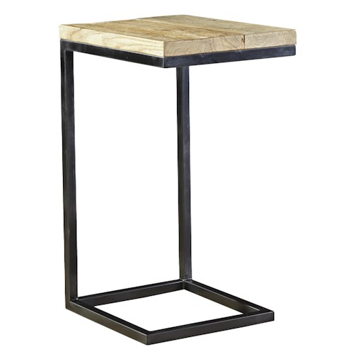Furniture Classics Accents Personal Martini Table with Wood Top and Steel Frame