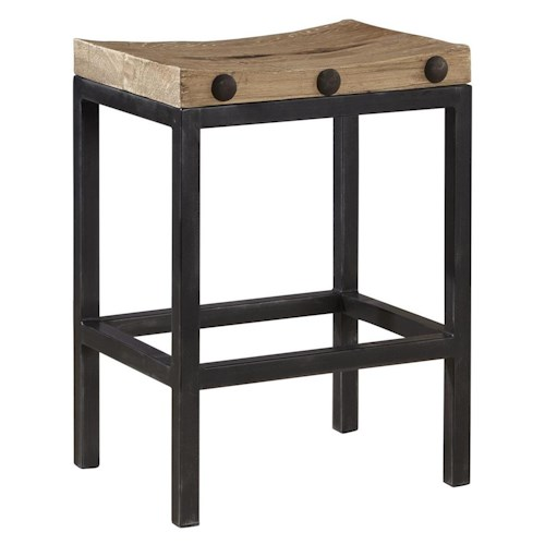 Furniture Classics Accents Modern Industrial Style West End Counter Stool with Reclaimed Wood