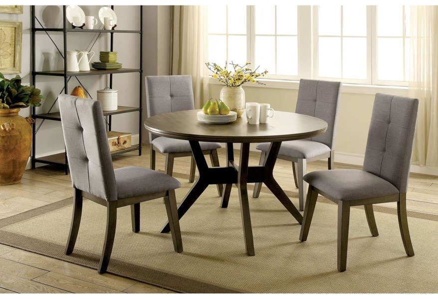 Abelone Mid Century Modern 5 Piece Dining Set With Round Table Household Furniture Dining 5 Piece Sets