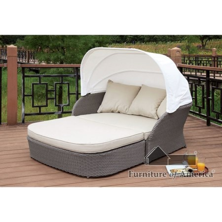Patio Canopy Loveseat Daybed and Ottoman
