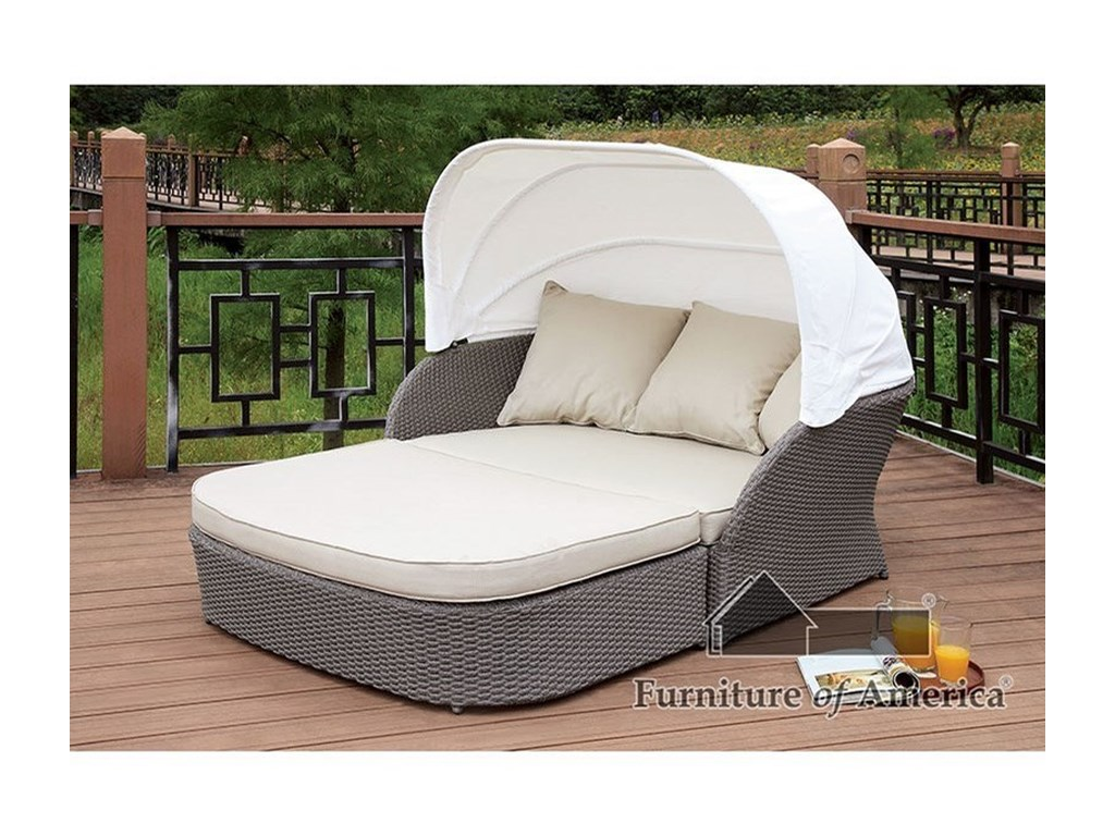 FUSA AidaPatio Canopy Loveseat Daybed and Ottoman