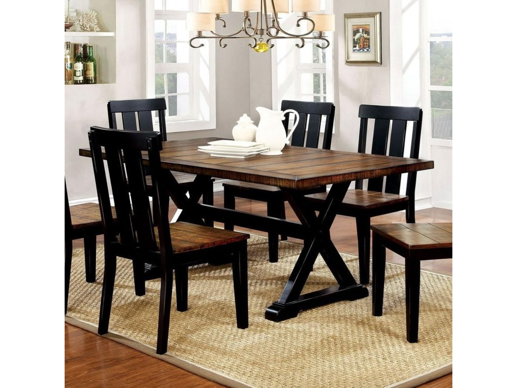Alana Trestle Two Tone Dining Table By America At Del Sol Furniture