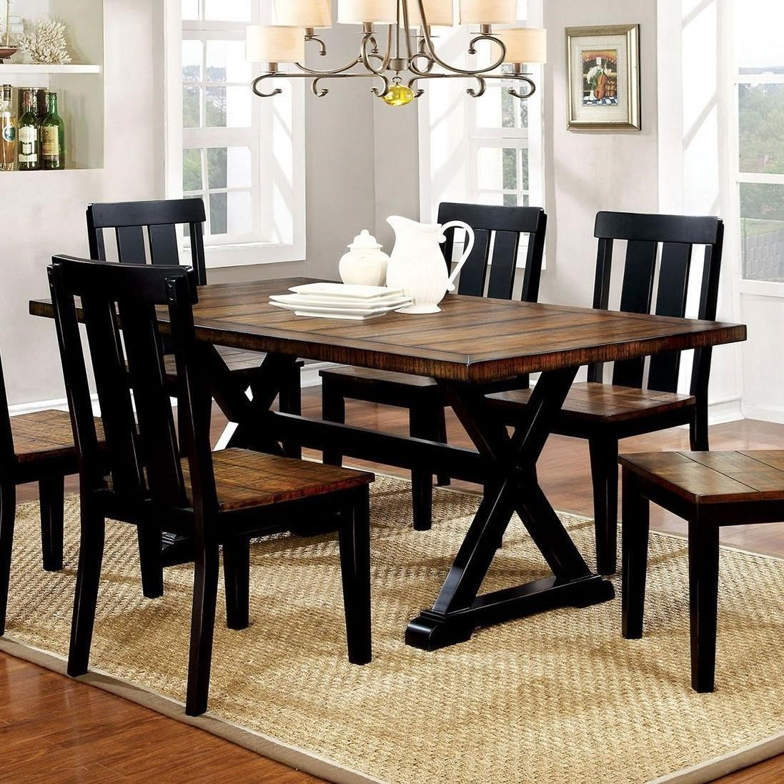 Furniture of America Alana Trestle Two-Tone Dining Table  sc 1 st  Rooms for Less & Furniture of America Alana Trestle Two-Tone Dining Table | Rooms for ...