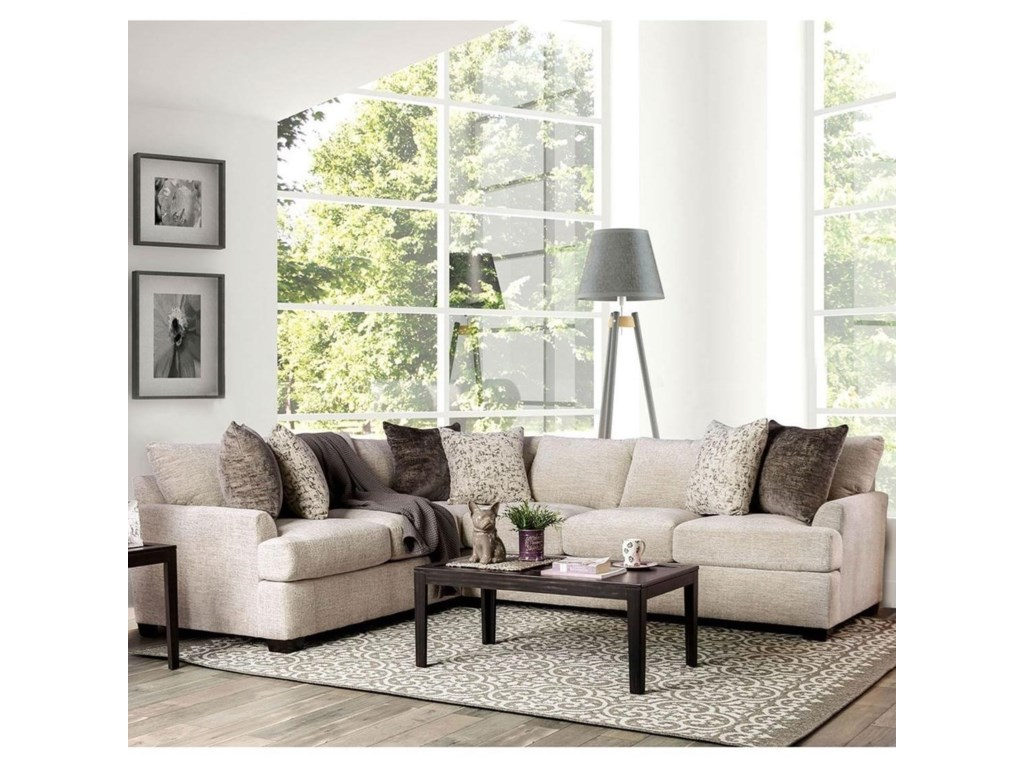 Alisa Contemporary Sectional Sofa with Flare Tapered Arms by Furniture of  America at Rooms for Less