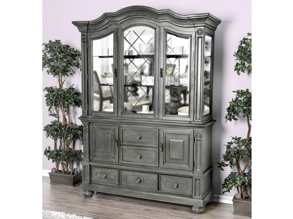 Furniture Of America Alpena Cm3350gy Hb Set Traditional Hutch
