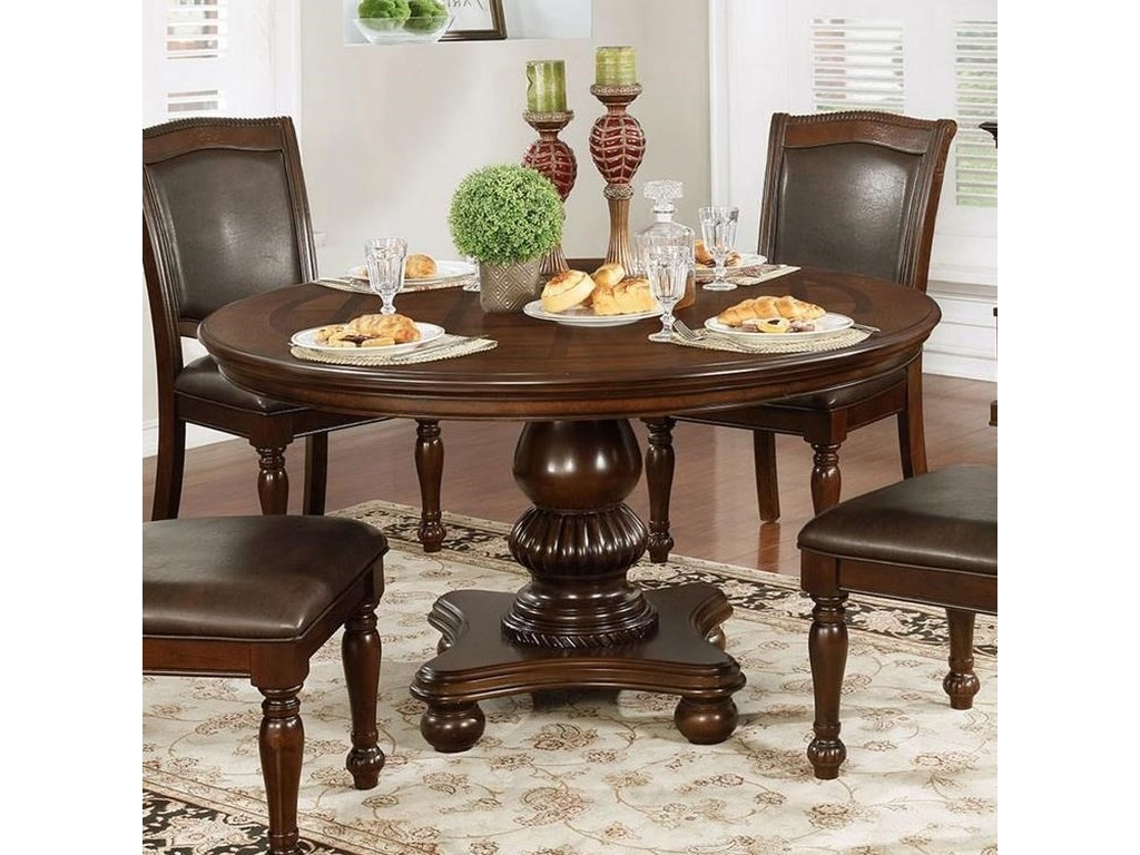 Alpena Traditional Round Dining Table By Furniture Of America At Super Nm
