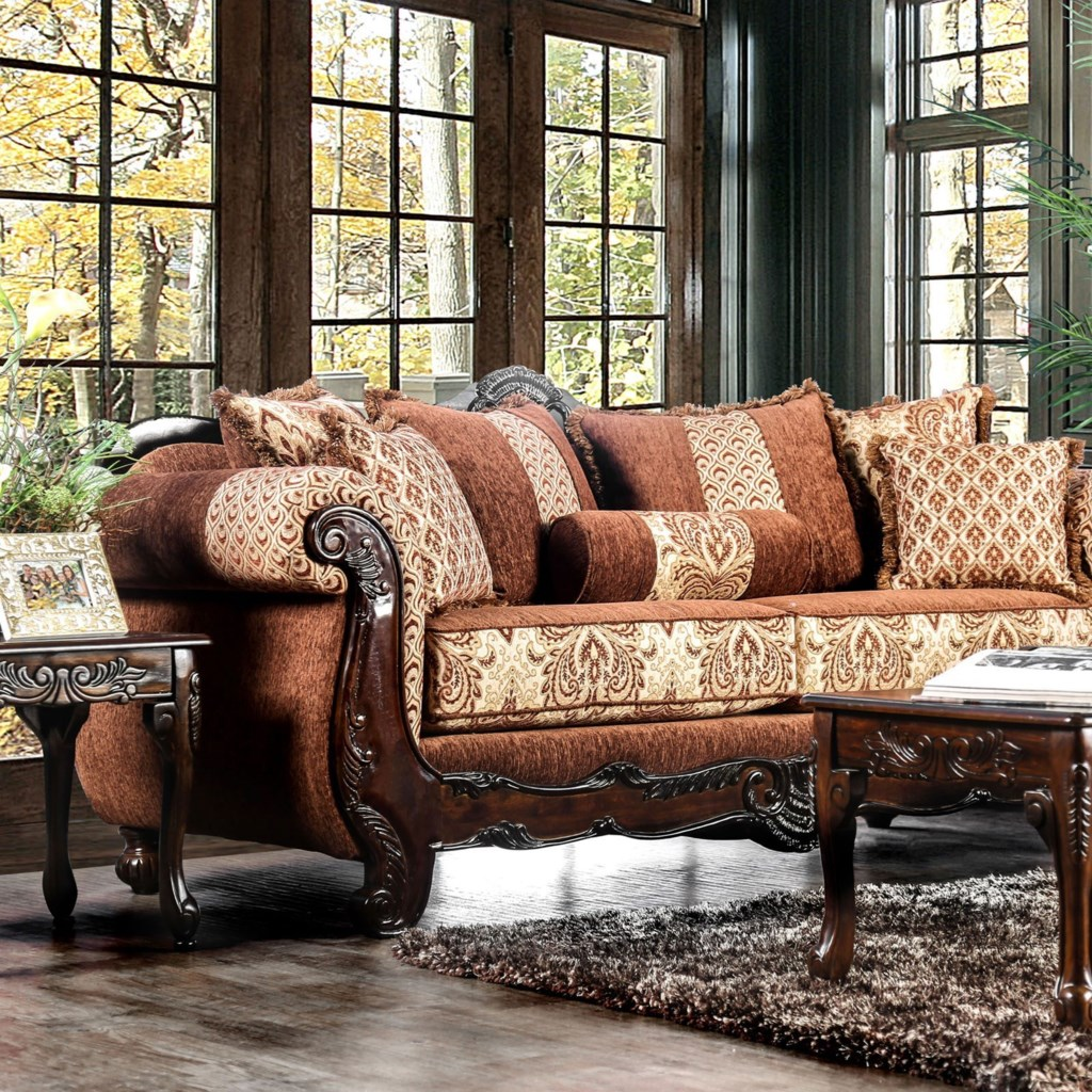 Furniture Of America Amadeo Traditional Sofa With Ornate Wood Trim