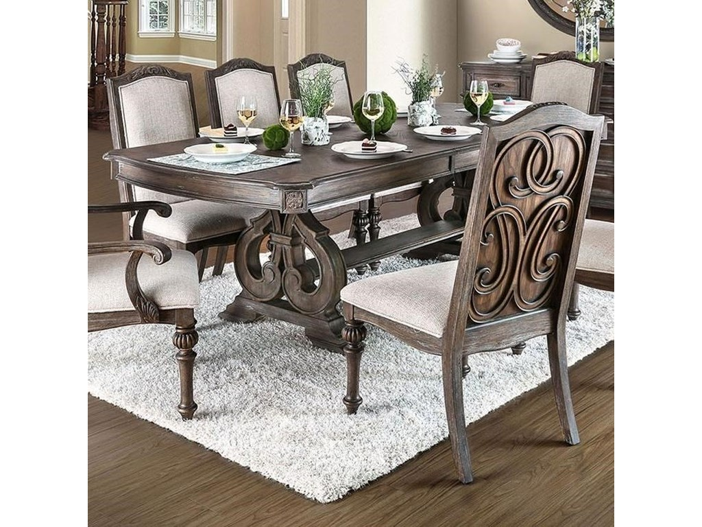 Furniture Of America Arcadia Traditional Dining Table With Ornate Carved Trestle Base And 1 Leaf