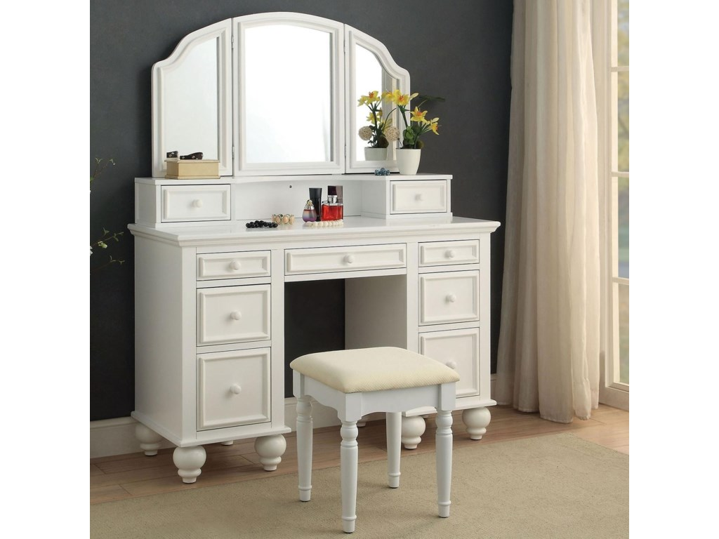 athy traditional makeup vanity table with upholstered stoolamerica at  del sol furniture