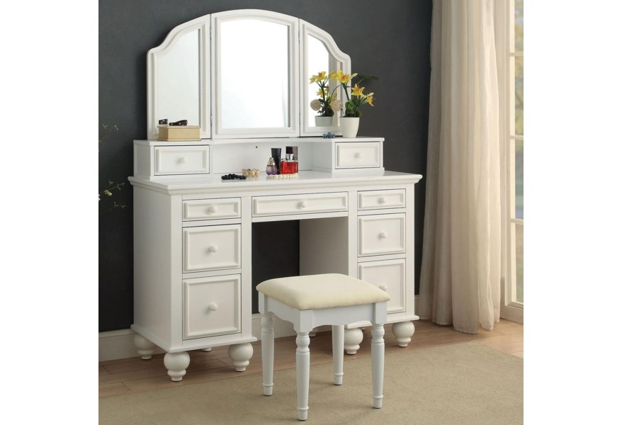 Athy Traditional Makeup Vanity Table