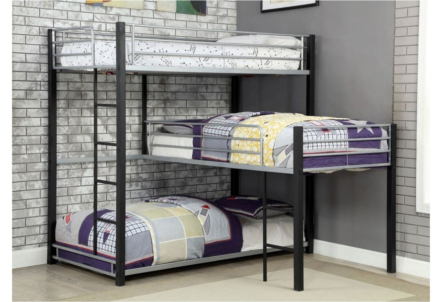 Furniture Of America Aubrey Cm Bk919 Bed Twin Triple Decker Metal Bunk Bed With Ladders And Guardrails Corner Furniture Bunk Beds