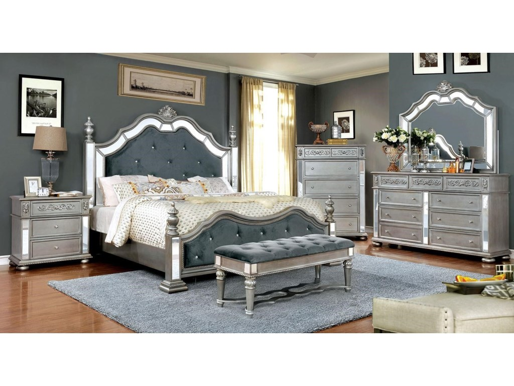 Furniture of America Azha Lavish Traditional Style King Bedroom ...