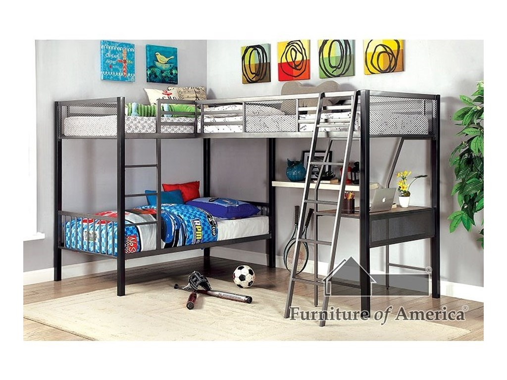 Furniture Of America Ballarat L Shaped Triple Twin Bunk Bed W Desk