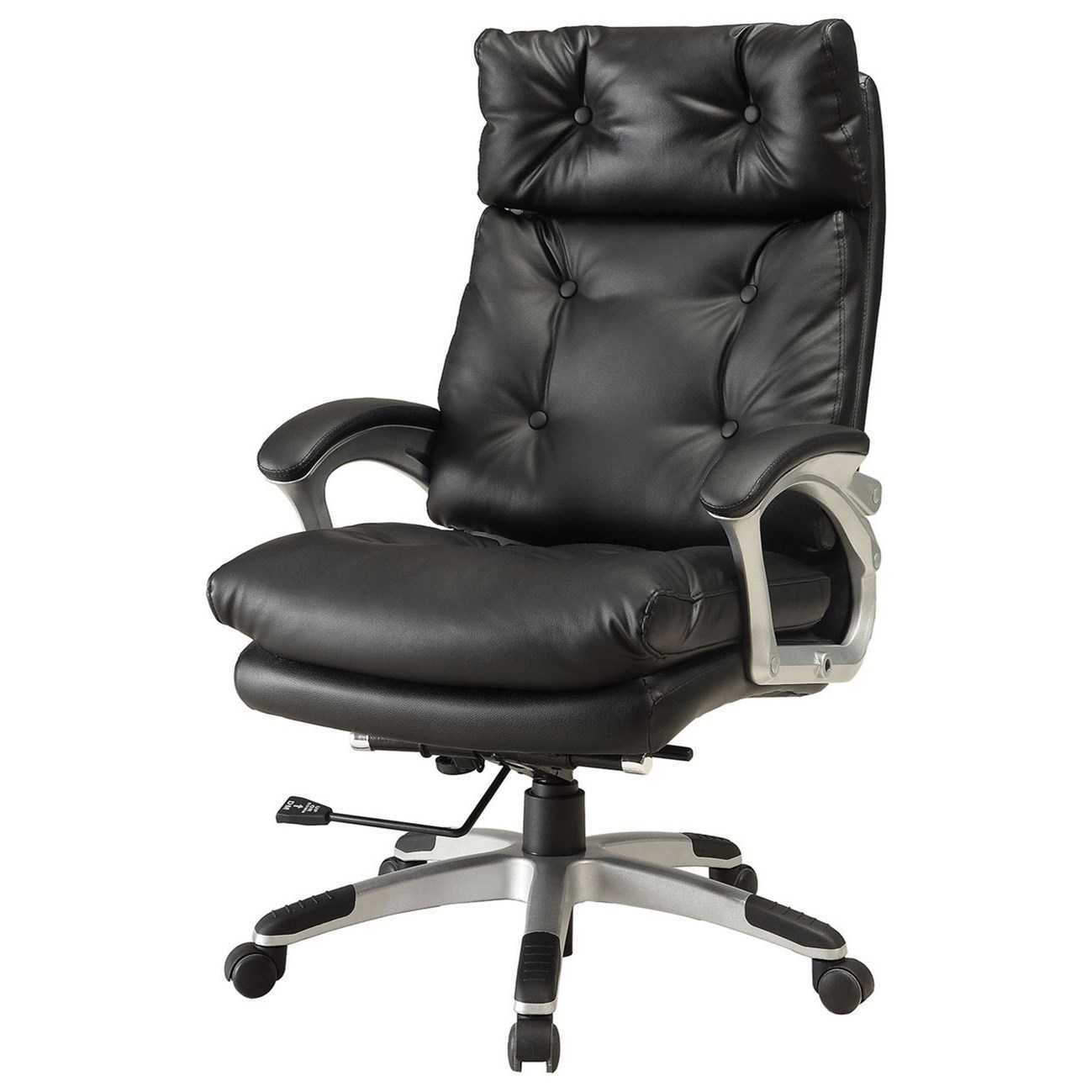 Basalt Contemporary Office Chair With Button Tufting And Padded Armrests By  Furniture Of America
